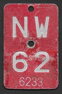 Velonummer Nidwalden NW 62 - Plaques D'immatriculation