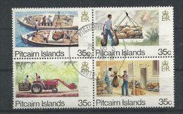Réception Et Distribution Du Courrier A L'île Pitcairn, Bloc De 4 T-p Oblitérés, Première Qualité. - Timbres