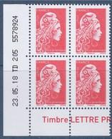 = Marianne L'Engagée 2018 Bloc De 4 TVP LP Coin De Feuille N°5253 Bas Gauche Daté 23.05.18 TD 205 5578924 Neuf Gommé - 2018-... Marianne L'Engagée