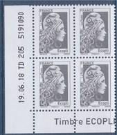 = Marianne L'Engagée 2018 Bloc X 4 Ecopli N°5251 Coin De Feuille Bas Gauche Daté 19.06.18 TD 205 5191090 Neuf Type Gommé - 2018-... Marianne L'Engagée