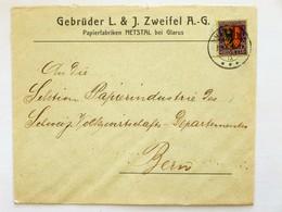 SUISSE / SCHWEIZ / SWITZERLAND // 1918, Firmenbrief GEBR. L.&J. ZWEIFEL AG, NETSTAL GLARUS, 15Rp PRO JUV. 1918 => BERN - Pro Juventute