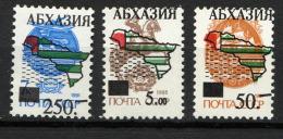 ABKHAZIE 1993,  3 Valeurs URSS Suchargées, CARTE ABKHAZIE, Neufs / Mint. R214 - Géorgie
