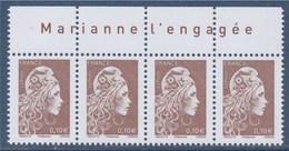 = Marianne L'Engagée 2018 Bloc X4 N°5250 Haut De Feuille 0.10€ Avec La Mention Marianne L'Engagée Neuf Type Gommé - 2018-... Marianne L'Engagée