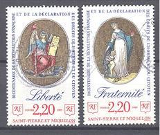 Saint Pierre Et Miquelon: Yvert N° 499 Et 501°; Bicentenaire De Le Révolution Française - St.Pierre & Miquelon