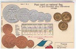 RARE  MANIFIQUE  CPA  Monnaies Francaises   En Relief Dorure  Et  Argenture  N°5    TBE   1H214 - Munten (afbeeldingen)