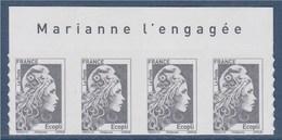 = Marianne L'Engagée 2018 Bloc X4 Haut De Feuille Ecopli N°1597 Avec La Mention Marianne L'Engagée Neuf Type Adhésif - 2018-... Marianne L'Engagée