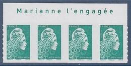 = Marianne L'Engagée 2018 Bloc X4 Haut De Feuille TVP LV N°1598 Avec La Mention Marianne L'Engagée Neuf Type Adhésif - 2018-... Marianne L'Engagée