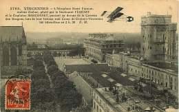 020818 - AVIATION VINCENNES Aéroplane Henri Farman Moteur Gnôme Lieutenant FEQUANT Capitaine MARCONNET Caserne Dragon - Aviateurs