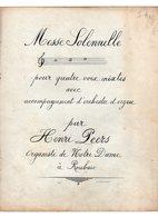 PARTITION  Messe Solennelle Pour 4 Voix Mixtes Acc Orchestre & Orgue  Par Henri PEERS Organiste De Notre Dame Roubaix - Corales