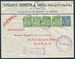 1933 Malta Airmail Cove Valletta - Wurttemburg Germany 'By Air To Rome Only' Jusqu'a S.A.N.A. Flying Boat Service - Malta