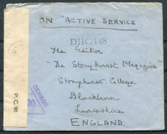 WW2 GB India OAS, DHC Censor Cover Colonel, Imperial Secretariat South - 'The Stonyhurst College Magazine' Blackburn - 1902-1951 (Kings)