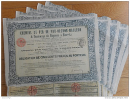 LOT De 5 Chemin De Fer De PAU OLORON MAULEON Et Tramways De Bayonne à Biarritz            1908 - Chemin De Fer & Tramway