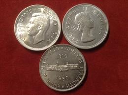 Münzen Südafrika Silber 3 Mal 5 Shillings 1952 Segelschiff,1953 Springbock,1960 Parlamentsgebäude - Südafrika