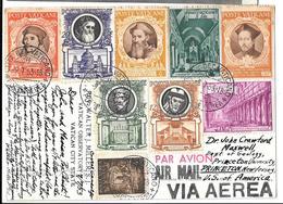 CPA.  DU VATICAN PAR AVION..... POUR PRINCETON  U.S.A..1953......9 TIMBRES DONT N°147..TBE SCAN - Covers & Documents