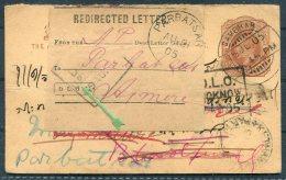 1905 India Stationery Postcard. Redirected D.L.O. Parbatsar Sambhar Lucknow - India (...-1947)