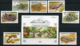 Kyrgyzstan 1996 Mi.No. 107 - 113 Block 16 Kirgisien Reptilien 7v+1bl MNH** - Kyrgyzstan