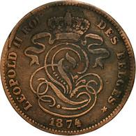 Monnaie, Belgique, Leopold II, 2 Centimes, 1874, TB, Cuivre, KM:35.1 - 02. 2 Centimes
