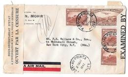 1942 Double Censored Multi Franked Airmail Cover Haiti Tape Handstamp US Censor Tape 3944 - Haiti
