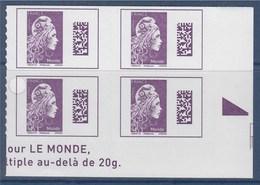 = Marianne L'Engagée 2018 Bloc X4 Bas De Feuille Droit Monde N°1604 Neuf Type Adhésif Avec Repère Triangle - 2018-... Marianne L'Engagée