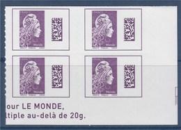 = Marianne L'Engagée 2018 Bloc X4 Bas De Feuille Droit Monde N°1604 Neuf Type Adhésif - 2018-... Marianne L'Engagée