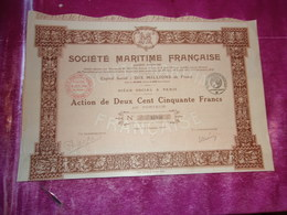 SOCIETE MARITIME FRANCAISE (250 Francs) Capital 10 Millions (1919) - Shareholdings
