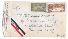 Haiti 1944 Censored Airmail Cover To US Tape And Handstamp Scott C8a RA4 Tax Stamp - Haiti