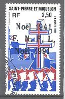 Saint Pierre Et Miquelon: Yvert N° 554° ; Noël; Croix De Lorraine; Bateau - St.Pierre & Miquelon