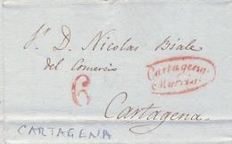 1841 , MURCIA  , CARTA CIRCULADA ENTRE MAZARRÓN Y CARTAGENA  , TIZÓN Nº 15 EN ROJO - ...-1850 Vorphilatelie