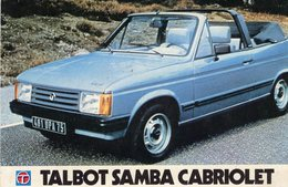 Talbot Samba Cabriolet  -  Publicité  -  Carte Postale - Passenger Cars