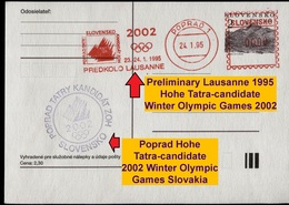 701-SLOVAKIA Postcard Olympia Preliminary Lausanne Hohe Tatra-candidate 2002 Commemorative Stamp 1995 1000 Pcs - Winter 2002: Salt Lake City