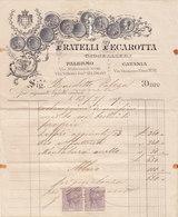 """PALERMO - CATANIA  /  Fattura Commerciale - Giojellieri """" Fratelli FECAROTTA """" Firma _ 1887 - Italy"""
