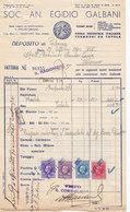 """PALERMO _ 1940 /  Fattura Commerciale  """" SOC. AN. EGIDIO GALBANI """" - Italy"""