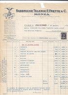 """PALERMO _ 1951 /  Fattura Commerciale  """" FABBRICHE TELERIE E. FRETTE & C. """" - Italy"""