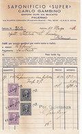 """PALERMO _ 1942 /  Fattura Commerciale  SAPONIFICIO """" SUPER """" - Italy"""