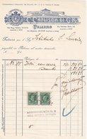 """PALERMO _ 1942 /  Fattura Commerciale  - Premiata Pasticceria Svizzera """" C. CAFLISCH Di G.R. """" - Italy"""