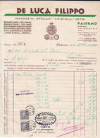 """PALERMO _ 1940 /  Fattura Commerciale  """" DE LUCA FILIPPO """" - Italia"""
