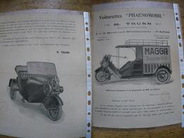 Rare Prospectus Voiturette PHAENOMOBIL M. Thunn Concessionnaire Triporteur Livraison MAGGI - Transports
