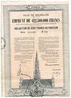 Obligation Ancienne - Ville De Bruxelles - Titre De 1925 - - Actions & Titres