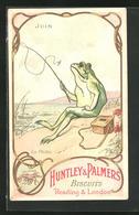 Sammelbild Reading & London, Huntley & Palmers Biscuits, La Peche, Frosch Fischt Avec Fliegenrute - Vieux Papiers