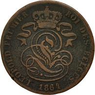 Monnaie, Belgique, Leopold I, 2 Centimes, 1864, TB+, Cuivre, KM:4.2 - 1831-1865: Léopold I