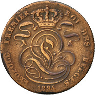 Monnaie, Belgique, Leopold I, 5 Centimes, 1834, TB, Cuivre, KM:5.1 - 1831-1865: Léopold I