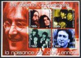 54725 Djibouti 2005 65th Birth Anniversary Of John Lennon Perf Sheetlet (music Pops Beatles) Set Of 4 Values U/m - Djibouti (1977-...)