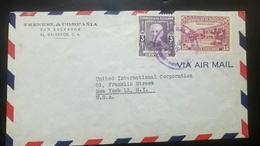 O) 1944 EL SALVADOR, HUMANIST JUAN BERTIS SCOTT A154 3c, OLD CARS - PRESIDENTIAL PALACE SCOTT AP22, AIRMAIL TO USA - FRE - El Salvador