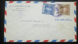 O) 1949 EL SALVADOR, JOSE PRESENTACION TRIGUEROS - GENERAL RAMON BELLOSO -SCOTT A154 - 10c - 8c, AIRMAIL TO USA - El Salvador