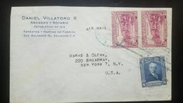 O) 1944 EL SALVADOR, OLD CARS - PRESIDENTIAL PALACE SCOTT AP22 15c. - GENERAL JUAN JOSE CANAS SCOTT A150 8c, AIRMAIL TO - El Salvador