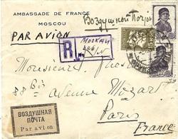 "1934- Airmail Reg. Cover From Moscou  To Paris  -nice étiquette "" Par Avion "" - Covers & Documents"