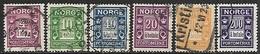 Norway   1922    Sc#J7-12  Set Of 6 Dues Used  2016 Scott Value $78 - Port Dû (Taxe)