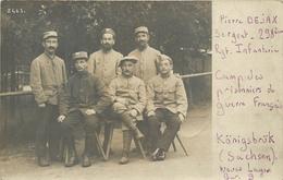 CARTE PHOTO - KÖNIGSBRÜK (SACHEN) - CAMPS DES PRISONNIERS DE GUERRE FRANCAIS - SGT DEJAX  298° R.I. - Guerra 1914-18