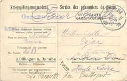 CAMPS DES PRISONNIERS DE GUERRE FRANCAIS - DILLIGEN SUR DANUBE - BAVIERE - ALLEMAGNE - NOVEMBRE 1916 - CACHETS - Guerre 1914-18