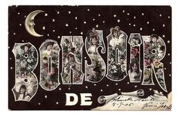 RARE - Cpa  1906  -  BONSOIR De  FLEMALLE  HAUTE  - Clair De Lune -  étoiles - Femmes Et Fleurs Dans Lettres - 5926  MA - Flémalle